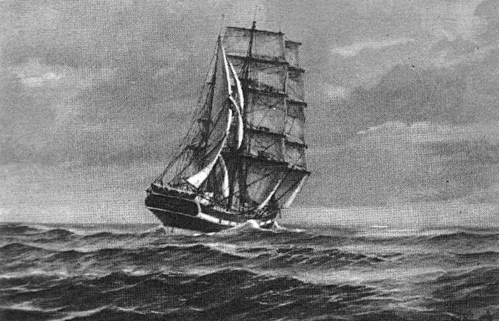 """Abb. 1 """"Seute Deern"""" vor dem Wind; Ölgemälde von K. Marquardt sen."""