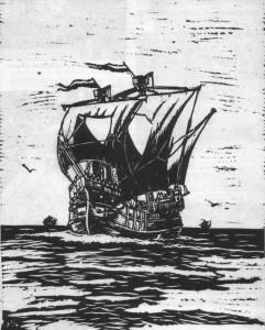 Abb. 3 Lübische Hulk im 15. Jahrhundert; Linolschnitt von K. Marquardt sen.