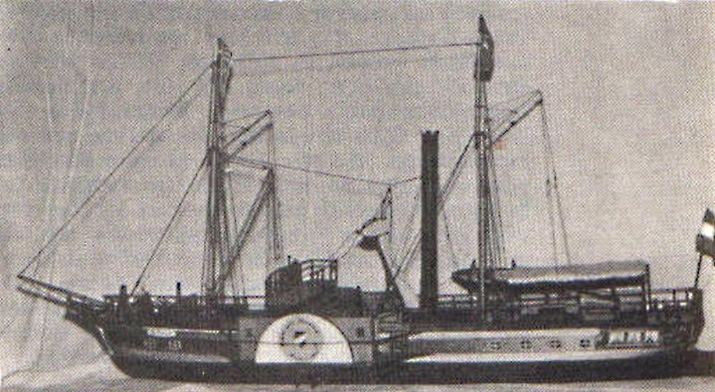 """Abb. 11 """"De Zeuw""""; erstes Dampfschiff der Nederlandsche Stoomboot Maatschappy von 1826 (1957)"""