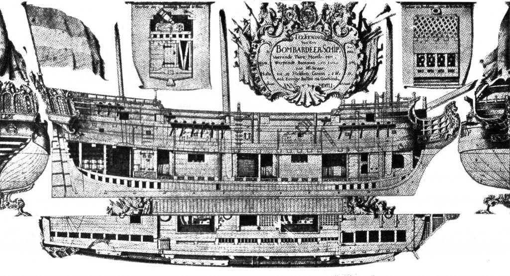 Abb. 9 Entwurf für ein Bombardierschiff, ausgearbeitet v. W. von Genth 1751