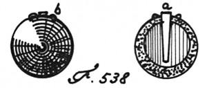 Abb. 4 Schematische Darstellung einer Mörser-Bombe; a Brandröhre, b Handgrille (Fig. 538 nach Röding)