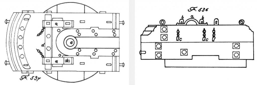 Abb. 6 u. 7 Lafettierung eines Schiffsmörsers englischer Bauart (Fig. 536 u. 537 nach Röding)