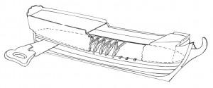 Abb. 27 Beispiel für einen Rumpfaufbau in der Waagerecht-Schichtbauweise mit halben Spanten und Oberteilbeplankung
