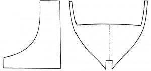 Abb. 28 Beispiel für die Form eines der Rumpf-spanten und der dazugehörenden Spantenschablone