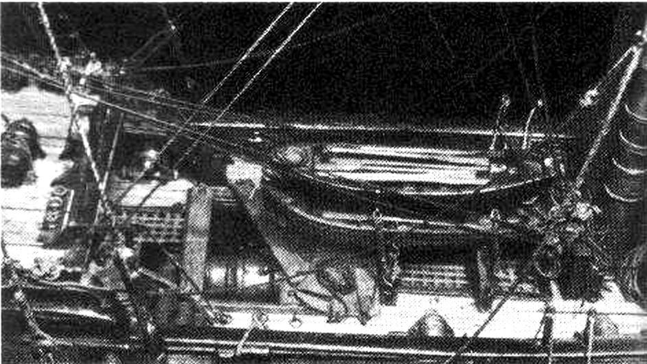 Abb. 38 Blick auf die Kuhl des Modells; Unterbringung der Beiboote