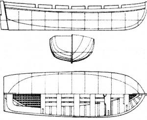 Abb. 39 Übersichtszeichnung des Großboots (Barkasse)