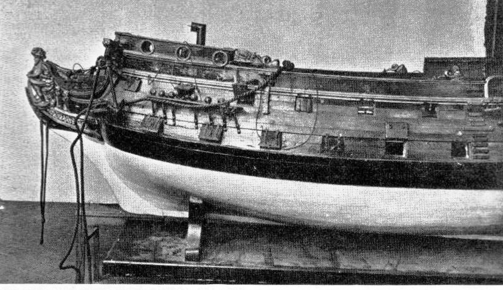 Abb. 2 Rumpfseitenansicht des Modells, Vorderteil mit der Galionsfigur