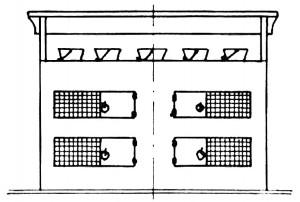 Abb. IV-10 Hühnerhock mit aulgesetzten Pützen, von achtern gesehen