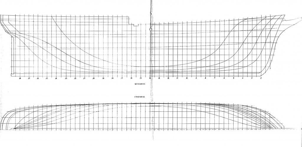 Tafel I Linienriß und Seitenriß (aus Me. 4/67, S. 154/155)