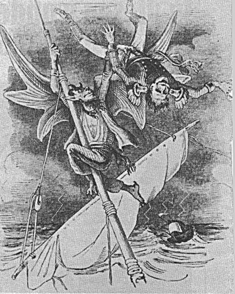 """Abb. 8 Die demnächst folgenden Kapitel über die Besegelung der Bark sind vielleicht nicht ganz einfach zu lesen. Fehler können sogar dem Fachmann unterlaufen. Ein Zeichner der """"Fliegenden Blätter"""" hat 1846 dargestellt, was in einem solchen Fall voraussichtlich passieren würde."""
