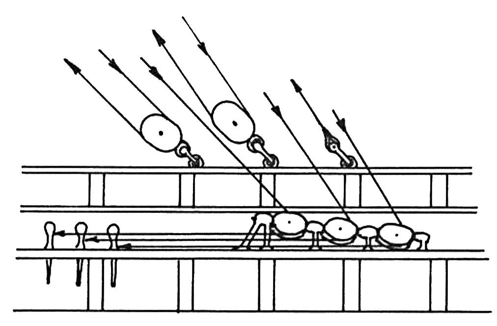 Abb. 1 Brassenlührung über Relingsblöcke und Dreierblock