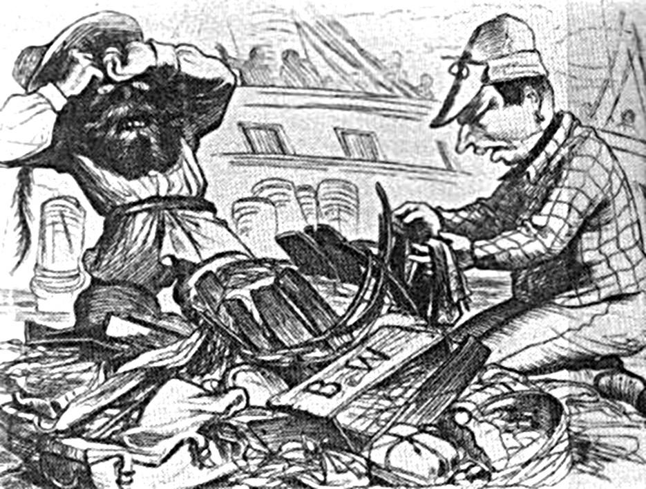 """Abb. 3 Die Reisenden nehmen bei der Ausschiffung in Staaten-Island ihr Gepäck in Empfang. """"Herr Jeses, der scheene Slip, den mer de Lowise beim Abschiede zum Andenken geschenkt hat, ist wees Kott hin — Alles is zerweecht. Das därfte mer nich noch e Mal passiren, sonst wärde, wees Kott. der Kapitän verklagt —"""" """"Was nutzt jetzt des Geschwätz? — mit all' Ihrem Geflenn leime se ke Kiste z'samme. — Da habe se widder Institutione — jelz' is mer um sei bische Eigenthum gebracht. aber keener vun die zweehundert deutsche Färschte giebt Ihne e Kreizer dervor."""" — """"Sehn se mei kuter Wühlhuber — s' Eigenthum is doch was werth — Sie ham immer von Vernichtung des Eigenthums gesprochen — jetz' is es vernichtet."""""""