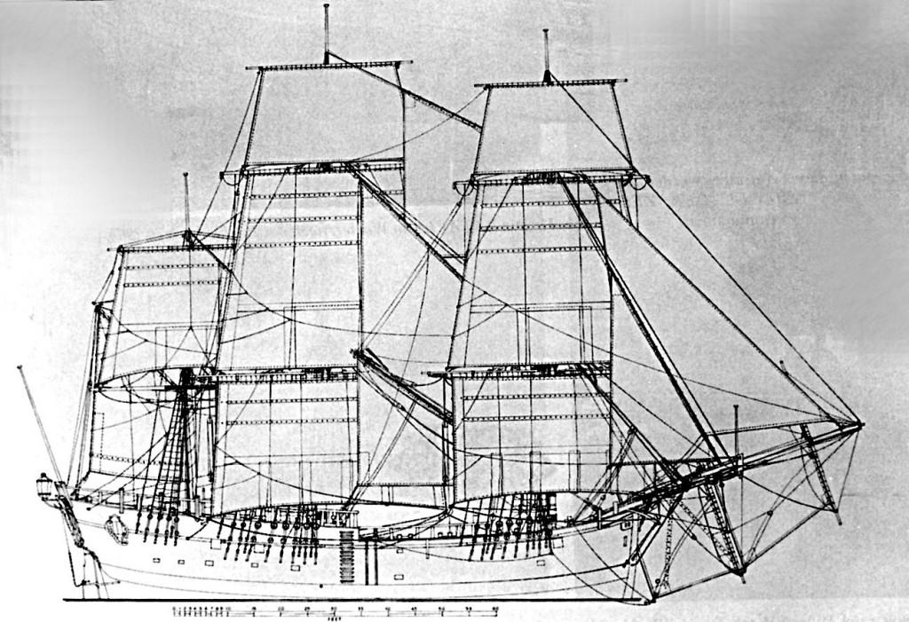 Abb. 1: Takelriß der H. M. Bark ENDEAVOUR 1768. Eine Zeichnung des Verfassers.