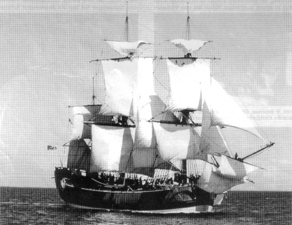 Abb. 12: Der ENDEAVOUR Nachbau unter Segel. Photo J. Lancaster. Mit der freundlichen Genehmigung der H. M. Bark ENDEAVOUR Foundation Pty. Ltd. Fremantle, W. A.