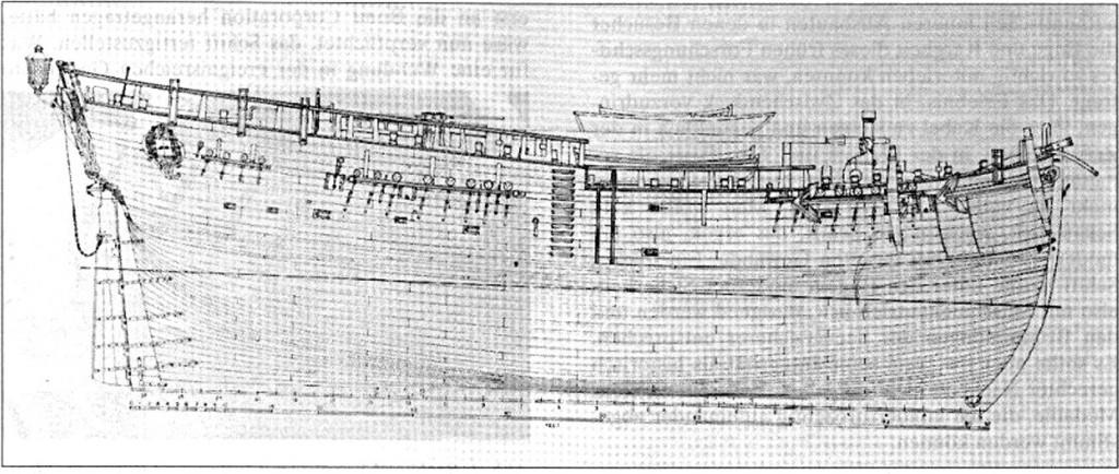 Abb. 2: Seitenansicht von H. M. Bark ENDEAVOUR 1768, eine vom Verfasser geschaffene, auf originale Zeichnungen und aufgezeichnete Unterlagen basierende, Zeichnung.