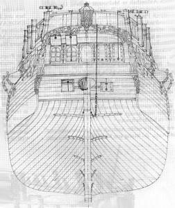 Abb. 6: Zeichnung des Spiegels der H. M. Bark ENDEAVOUR 1768, wie er entsprechend der Originalzeichnungen, Sydney Parkinsons Skizzen und genereller nautischer Quellen vom Verfasser entwickelt wurde.