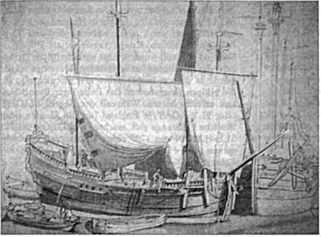 Abb 1: Zwei Katschepen im Hafen liegend. Tuschlavierte Bleistiftzeichnung auf grauem Papier um 1665 von Willem van de Velde, dem Alteren