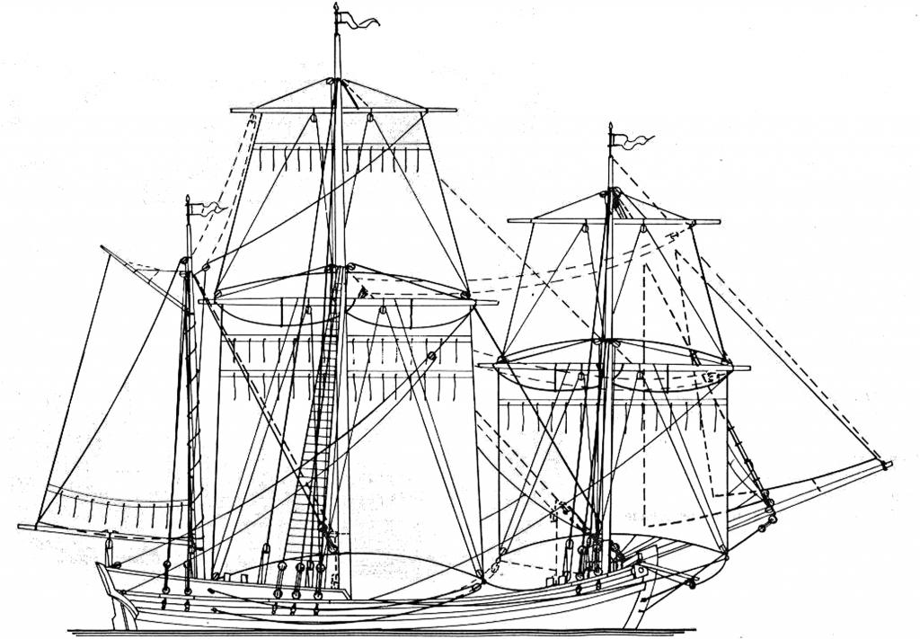 Abb. 11: Kleine schwedische Bark mit einer Kraier Takelung. Die Zeichnung ist nach F. H. af Chapman und die schraffierten Linien stellen die verstärkte Takelung des Modells seiner Udenmää THORBORG dar. Zeichnung K. H. Marquardt.