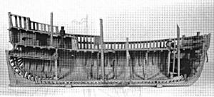 Abb. 12: Rekonstruktionsversuch  eines  Kattschiffes  im  PRINS  HENDRIK  MUSEUM in Rotterdam,  Halbmodell Invent. Nr. M 3354.