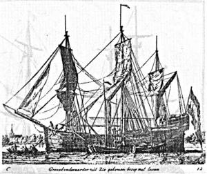 Abb. 6: Bootsschiff oder Grönlandfahrer. Kupferstich von Gerrit Grönewegen 1789.