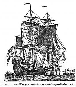 Abb. 7: Eine Katt beim Anker einholen. Kupferstich von Gerrit Grönewegen 1789.