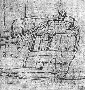 Abb. 1: Ausschnitt einer Skizze von Sydney Parkinson (1769) das Heck von HMS ENDEAVOUR darstellend. Deutlich sind vier Blinden erkennbar. Man kann erkennen, daß die halbrunden Fensterscheiben in viereckigen Rahmen sitzen.