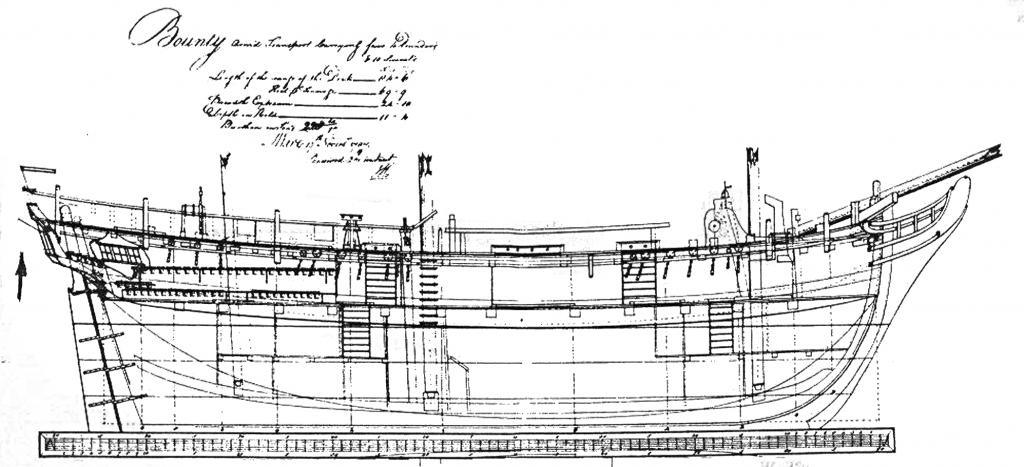 Abb. 3: Admiralitätsplan von HMS BOUNTY 1787. Der Pfeil verweist auf die eingezeichnete Blinde.