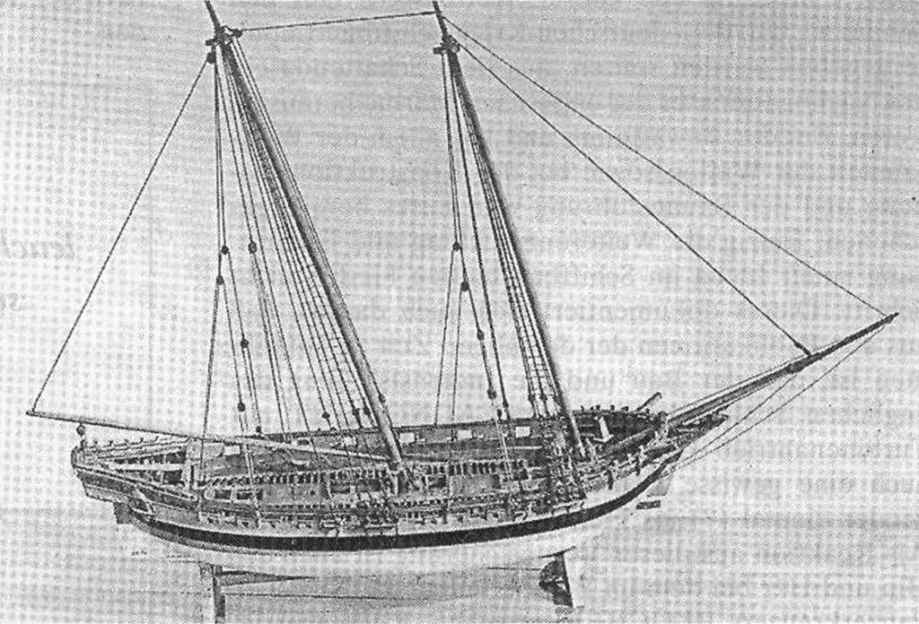 Abb. 1: Modell der HMS ROYAL TRANSPORT von 1695. Es wurde von Peter dem Großen nach Rußland gebracht und befindet sich im Zentralen Marine Museum, St. Petersburg. Foto mit freundlicher Genehmigung des Zentralen Marine Museums, St. Petersburg.