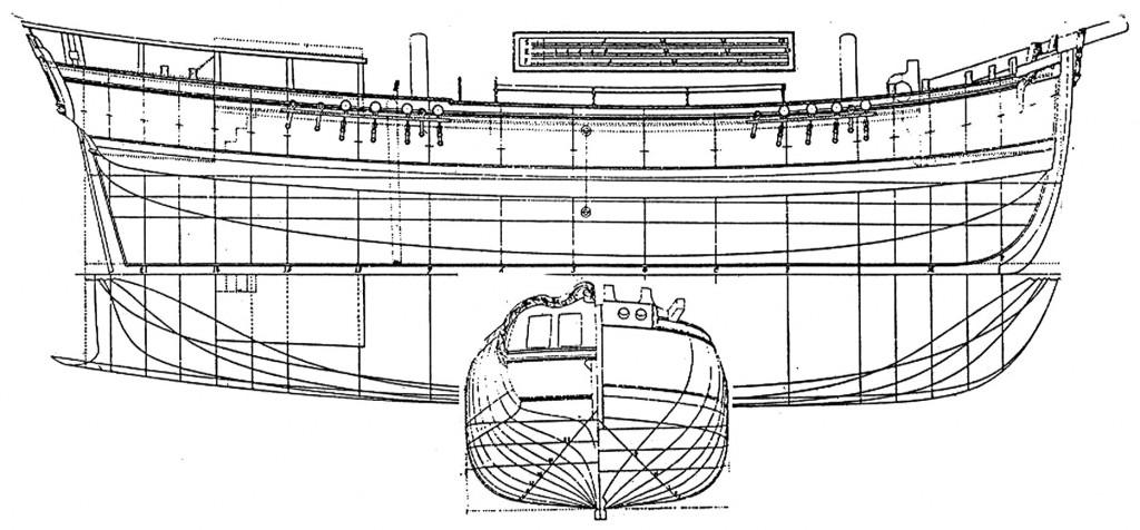 Abb. 10: Schonergetakelte Bark aus F. H. af Chapman Architectura Navalis Mercatoria 1768, Tafel XXVII/4.
