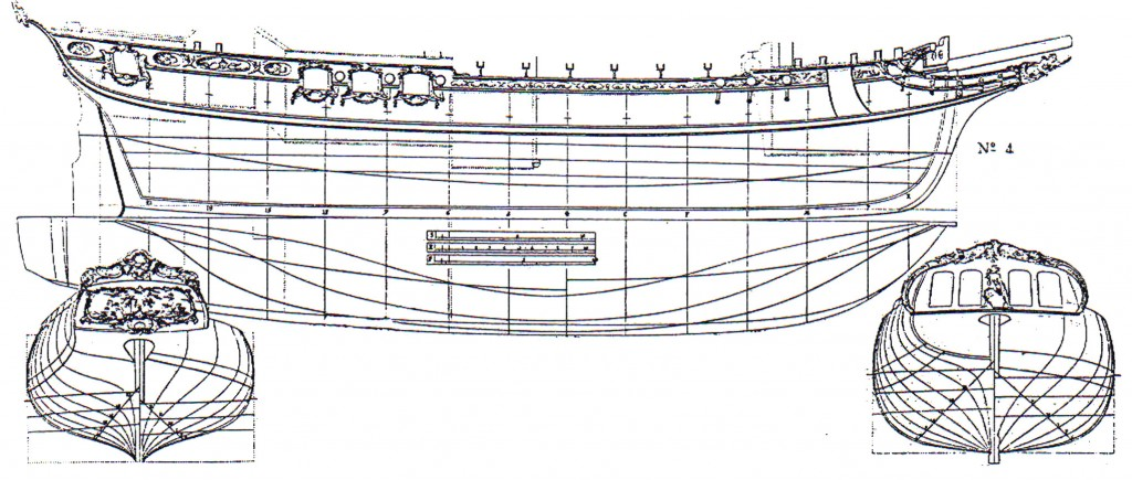 Abb. 11: Schonergetakelte Fregatte aus F. 11. af Chapman Architectura Navalis Mercatoria 1768, Tafel VII/9.