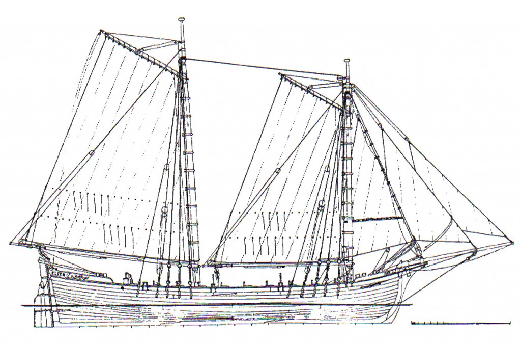 Abb. 13: Takelplan des Norwegisch-Dänischen Schärenbootes ELGEN 1769 nach Originalplänen. Zeichnung des Autors.