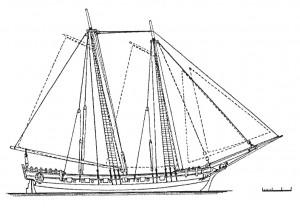Abb. 3: Takelungsplan von HMS ROYAL TRANSPORT 1695. Aus verschiedenen Fotos des Modells entwickelt. Die gestrichelten Linien stellen die wahrscheinliche Besegelungen des Schiffes dar. Zeichnung des Autors.