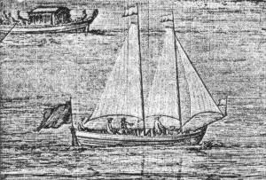 Abb. 4: Schonergetakeltes Boot auf der Themse aus Kip's Nouveau Theatre de la Grande Bretagne 1708. Archiv des Autors.