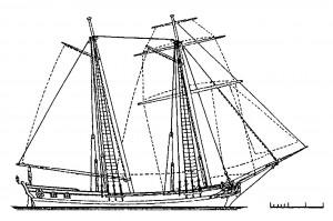 Abb. 7: Takelplan des portugiesischen Schoners ST. ANN von 1735. Die Takelung ist entsprechend der auf dem Originalriß verzeichneten Rundholzabmessungen geschaffen. Zeichnung des Autors.