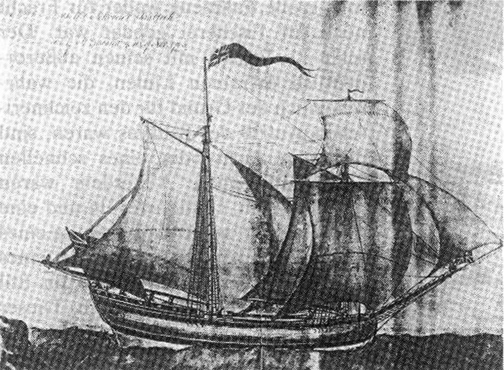 Abb. 8: Tuschezeichnung des amerikanischen Toppsegelschoners BALTICK von 1765. Unter vollen Segeln dargestellt, zeigt dieses Schiff den typischen amerikanischen Handels-Schoner der 60er Jahre. Das ebenfalls gezeigte Großstag- im Zusammenhang mit dem Schobersegel, läßt ebenfalls mögliche Brigantinetakelung vermuten. Die Flaggenführung des Schiffes weist auf dessen offiziellen Status als Marine- oder Zollfahrzeug hin. Foto mit freundlicher Genehmigung des Peabody Museums Salem, Mass.