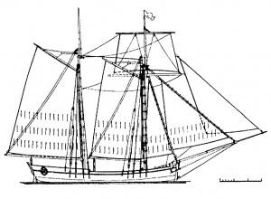 Abb. 9: Schonertakelung entsprechend der Chapman Angaben von 1768. Zeichnung des Autors.
