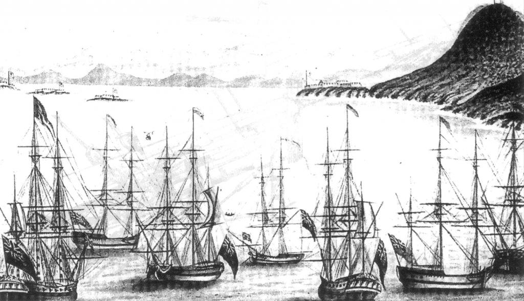 Abb. 3: Ausschnitt aus George Raper's Aquarell: First Fleet in Rio de Janeiro 1787. Unter den sieben hier gezeigten Schiffen befinden sich drei mit dem neuen Stampfstock.