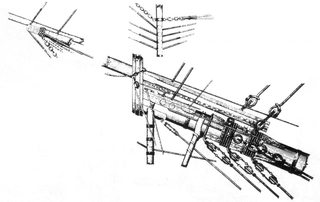 Abb. 5: Der Stampfstock hinter dem Eselshaupt. Die Darstellung ist die eines Kriegsschiffes, die in etwas abgewandelter Form in verschiedenen zeitgenössischen Werken (u.a. in G.S. Nares SEAMANSSHIP 1862) zu finden ist. (Diese Abbildung wurde ca. 1872 bei Friedrich Gröber in Leipzig gedruckt).