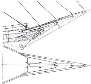 Abb. 6: Eine Darstellung des Slampfstockes unter dem eisernen Eselshaupt, ca. 1865. (H. Underhill, Masting and Rigging the Clipper Ship & Ocean Carrier, 1946).