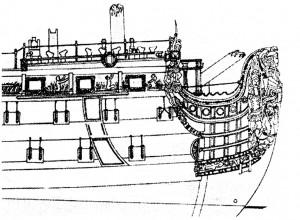 Abb. 10: Vorschiffszeichnung mit Galion und Figur (von Steuerbordseite)
