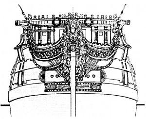 Abb. 11: Vorschiffszeichnung mit Galion und Figur (von vorn)